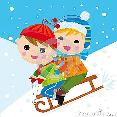 Crianças na neve conduzida