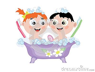 Crianças no banho