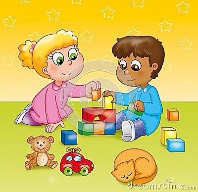 Crianças que jogam em um jardim de infância