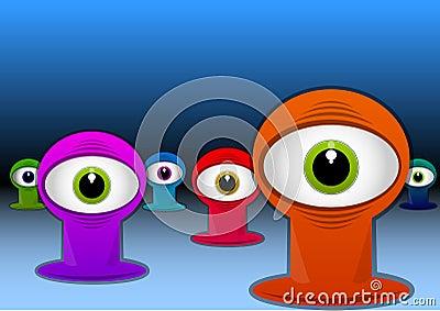Criaturas com um só olho coloridas, ilustração