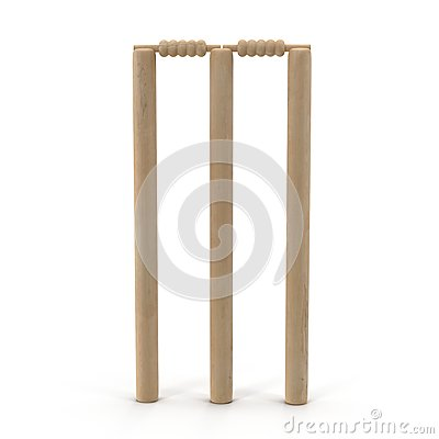 Free Cricet Wickets 3D Illustration Isolated On White Royalty Free Stock Photography - 76363257