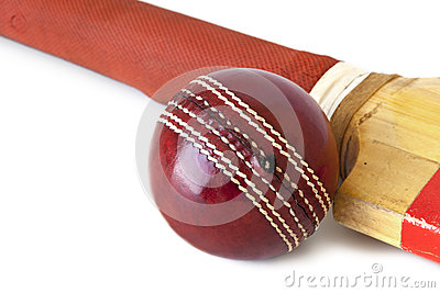 Cricket Ball and Bat over White