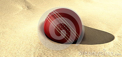 Cricket Ball Buried In Sand