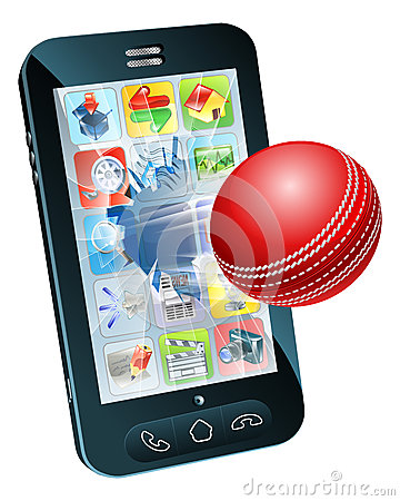 Cricket ball flying out of mobile phone