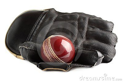 Cricket ball and glove.