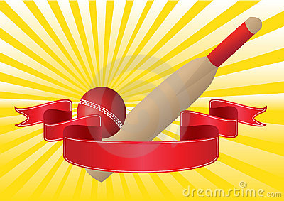 cricket bat and ball with rays
