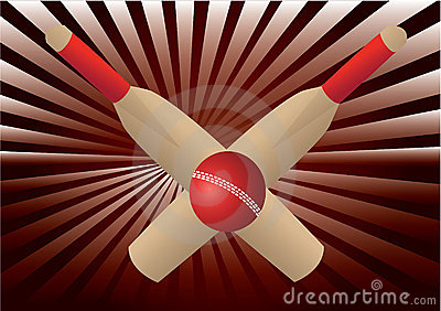 Cricket bats and ball with  rays