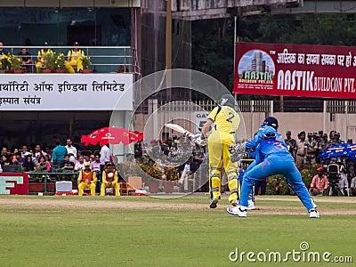 Cricket batsman bats Editorial Stock Image