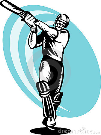 Cricket batsman batting woodcut