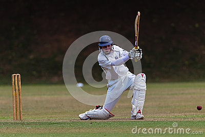 Cricket Batsman Drives Ball Editorial Photo
