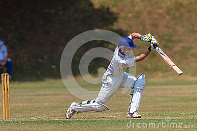 Cricket Batsman Stroke Action Editorial Photo