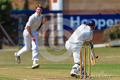 Cricket Bowler Batsman Ball Stroke  Editorial Photo