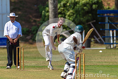 Cricket Bowler Umpire Batsmen Ball Editorial Stock Photo