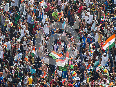 Cricket Crowd India Celebrate Editorial Photography
