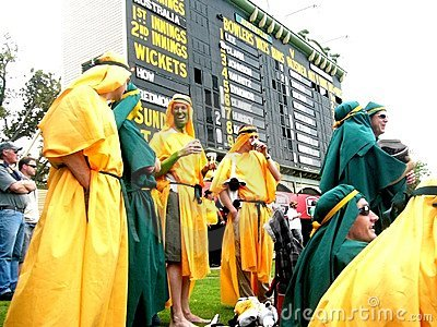 Cricket Crowd & Scoreboard Editorial Photo