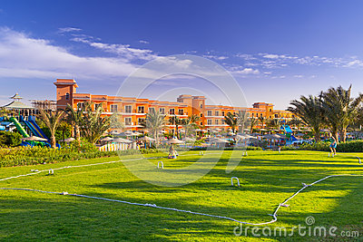 Cricket field at the tropical resort in Hurghada, Egypt Editorial Stock Photo