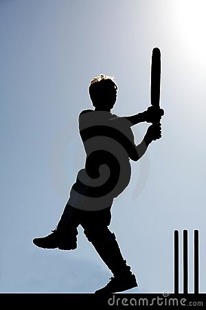Cricket game Silhouette
