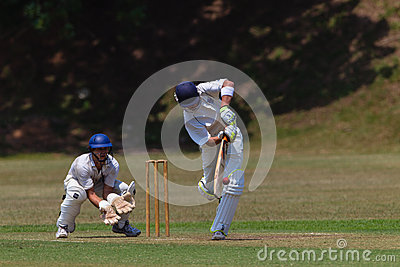 Cricket Player Bat Ball Keeper Editorial Photo