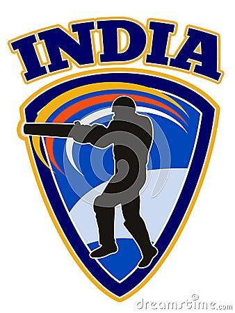 Cricket player batsman batting retro India