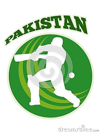 Cricket player batsman batting retro Pakistan