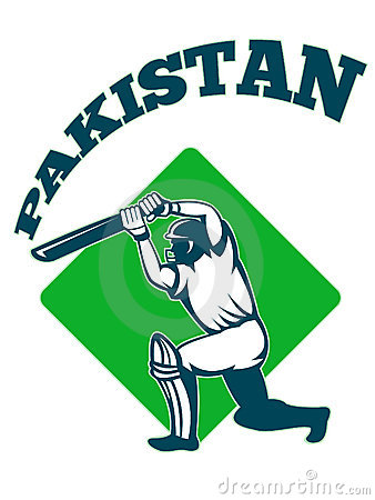 Cricket player batsman batting retro Pakistan
