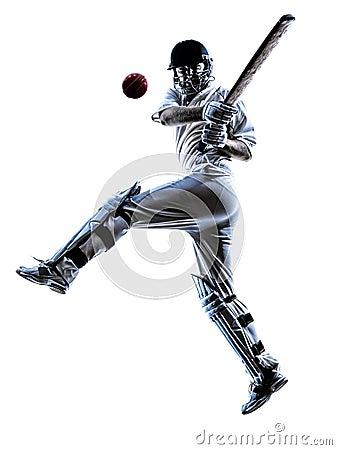 Free Cricket Player Batsman Silhouette Stock Photo - 45042440