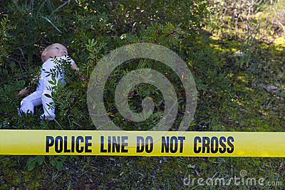 Crime scene in the forest with doll