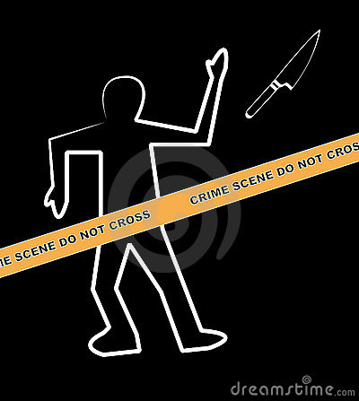 Crime scene with knife