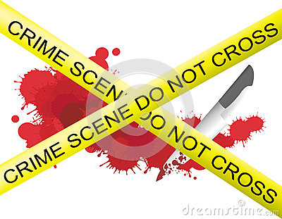 Crime scene of a knife muderer