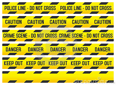 Crime Scene and Police Tapes Vector Illustration