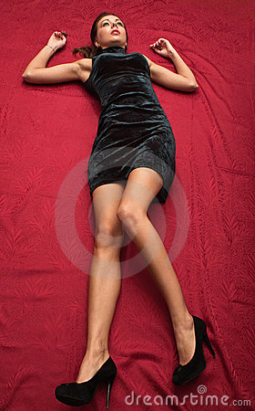 Free Crime Scene Simulation. Victim Lying On The Floor Royalty Free Stock Photos - 22210898