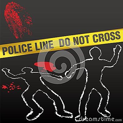 Crime scene tape corpse chalk outline