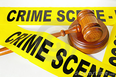 Crime scene tape and gavel
