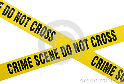 Yellow plastic crime scene do not cross tape isolated on white