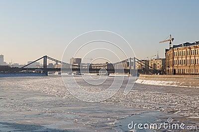Crimean bridge over the frozen river