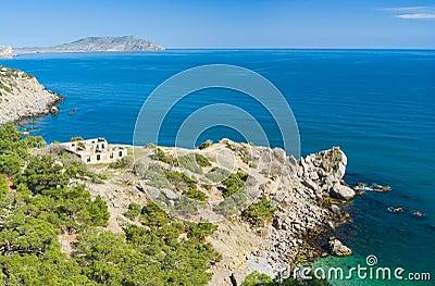 Crimean landscape with Black Sea shore