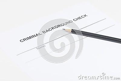 Criminal background check. Close-up of criminal background check