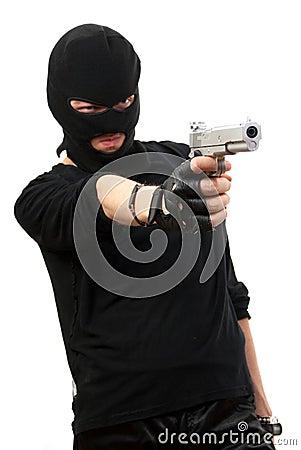 Criminal in black mask