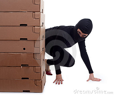 Criminal with boxes