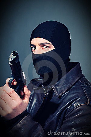 Criminal with gun