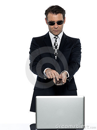 Criminal man computer hacker satisfied on phone