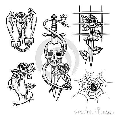 criminal tattoo rose in hands of knife behind stock vector image 53386375. Black Bedroom Furniture Sets. Home Design Ideas