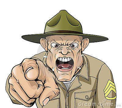 Cris fâchés de sergent instructeur d armée de dessin animé