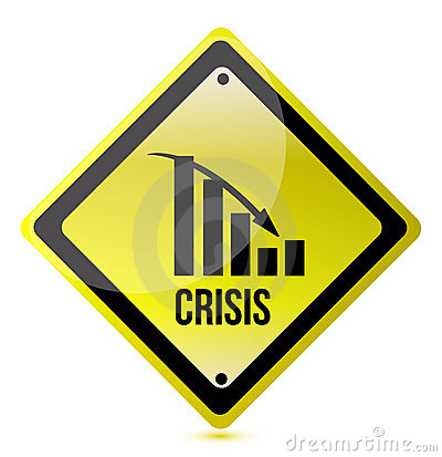 Crisis ahead graph yellow traffic sign illustratio