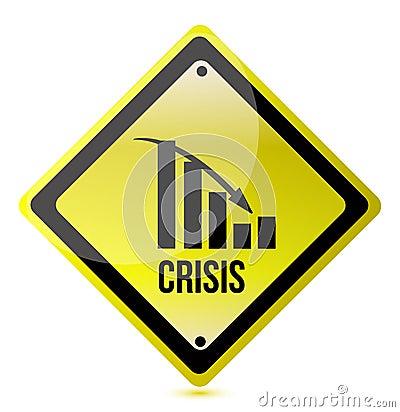 Crisis ahead graph yellow traffic sign illustratio