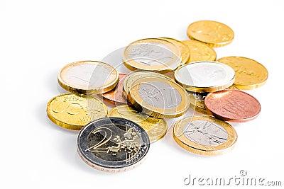 Crisis of euro-zone, some euro coins