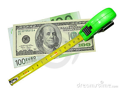Crisis: measuring tape, us dollar and euro