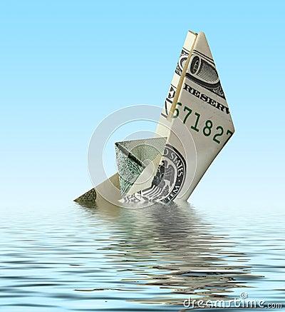 Free Crisis. Money Ship In Water Royalty Free Stock Image - 7255846