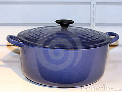 Crisol de cocinar azul