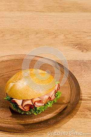Crisp bred on wooden dish with copy